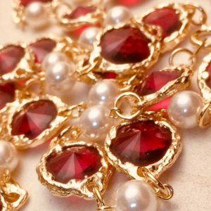 Jewelry - Red Gold Plated Chiclet Faux Pearl Sautoir